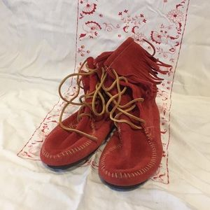 Red Minnetonka Ankle Boots